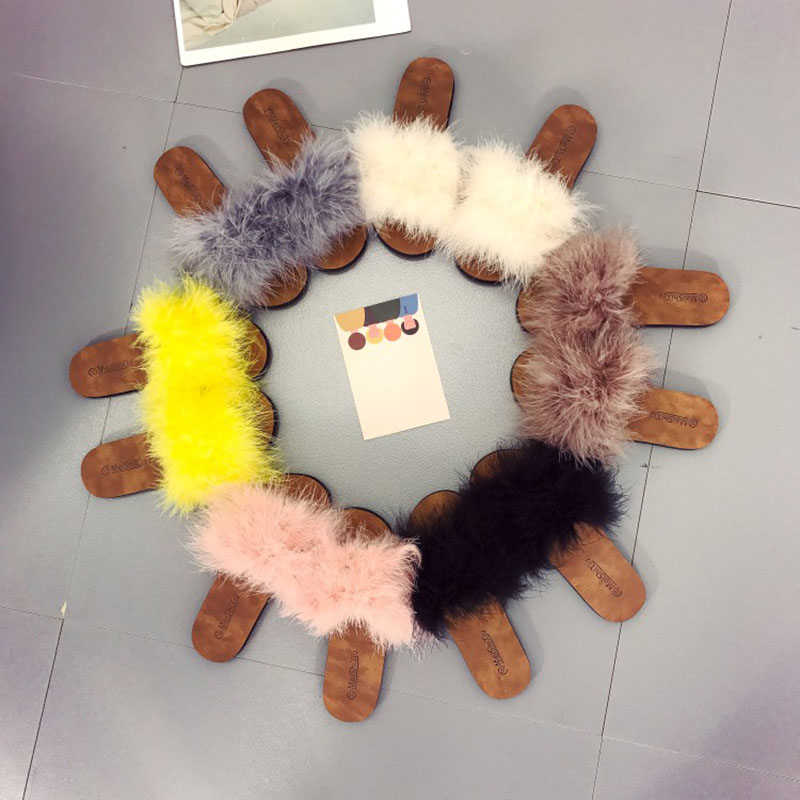 Faux Fur Slides for Women Slippers with Fur Home Soild Spring Summer Autumn Plush Slippers Women Flip Flops Flat Shoes 2016 soild women flip flops for summer outside slipper with cheap price and high quality for surprise gift xf 090
