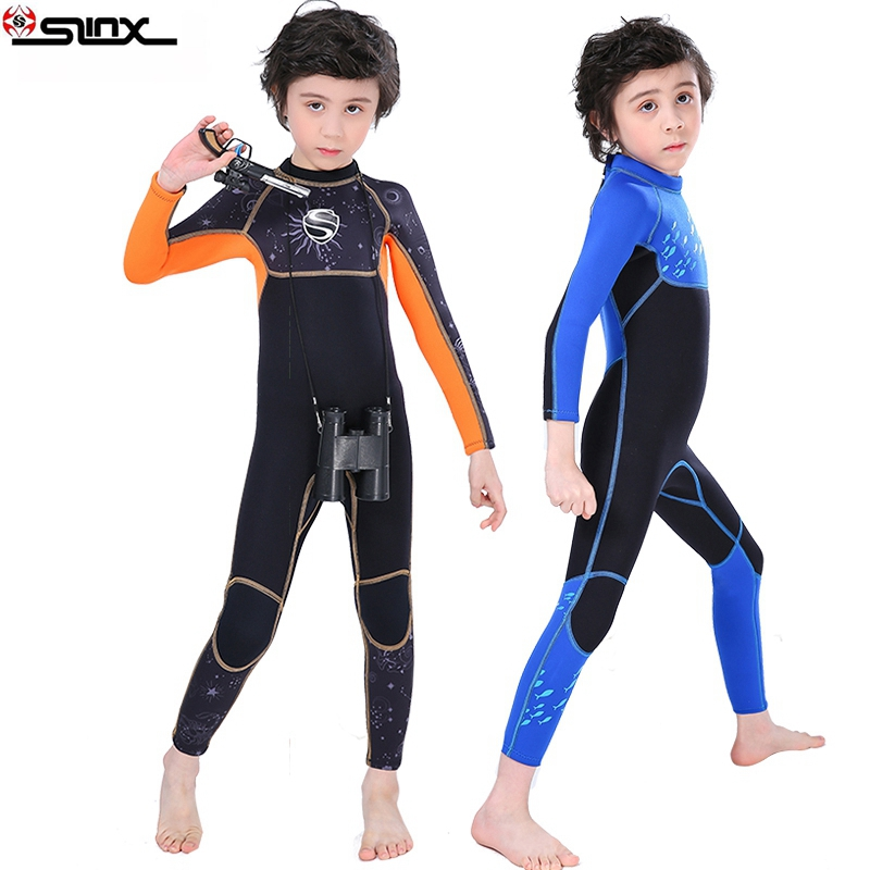 SLINX Kids Neoprene Swimsuit Wetsuits Children's Swimwear Long Sleeve High Elastic Diving Suits Snorkeling Surfing Rash Guards-in Wetsuit from Sports & Entertainment    2