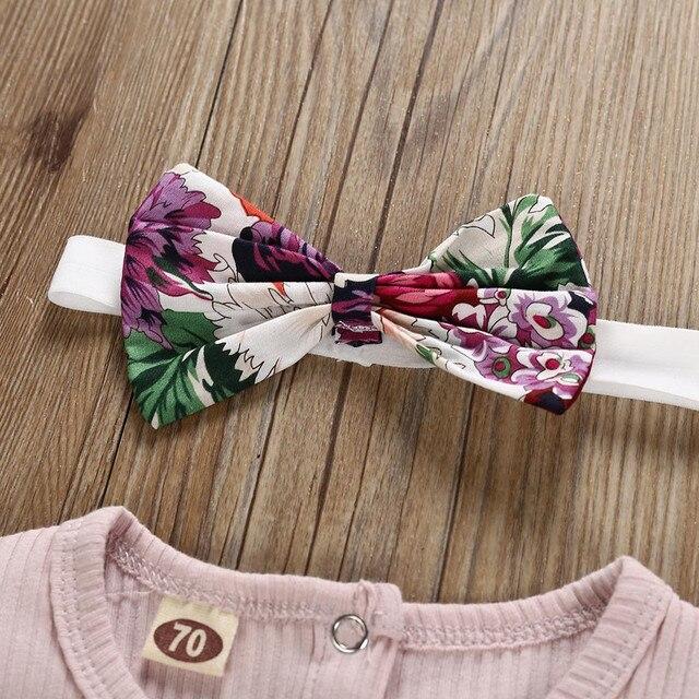 2019 nowa dziewczynka solidny kolor koszule odzież nowonarodzone dzieci dziewczynek stroje ubrania Romper body + nadruk w kwiaty zestaw szortów