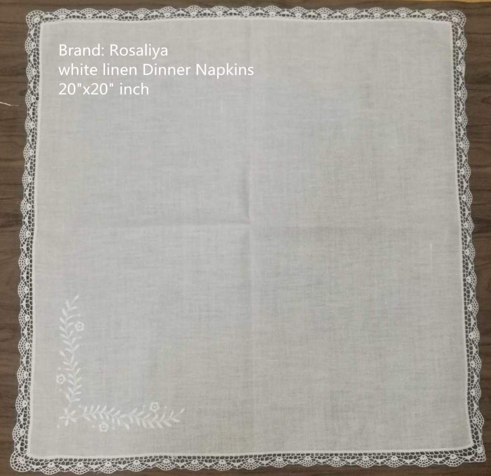 Set Of 50 Fashion Handkerchiefs Hanky White Linen Table Napkin Dinner Napkins With Lace Edges Hankies Luch & Tea Napkins 20-inch