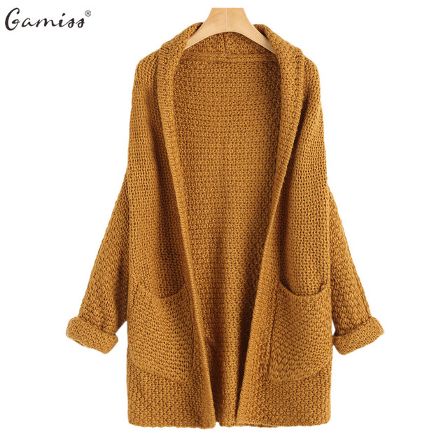 bf1678e8c1cb Gamiss Open Front Curled Sleeve Batwing Cardigan Women Autumn Winter Long Knitted  Sweaters Outwear Full Sleeve With Pockets