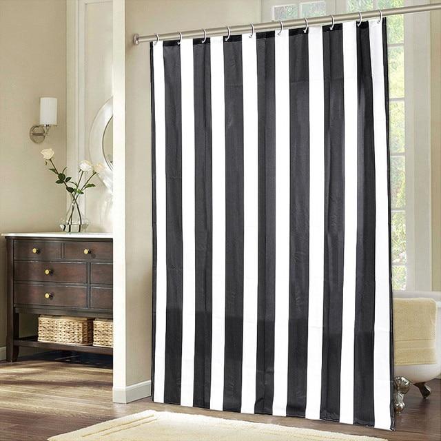 NEW180cmX148cm Striped Black White Waterproof Shower Curtain Home Hotel Bathroom Bath Screen