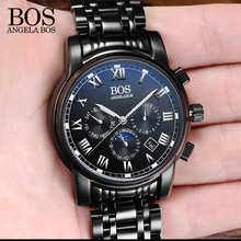 ANGELA BOS Black Stainless Steel Clock Men Watches 2017 Luxury Brand Men Watch Quartz Contracted Date Men's Watches Wristwatch