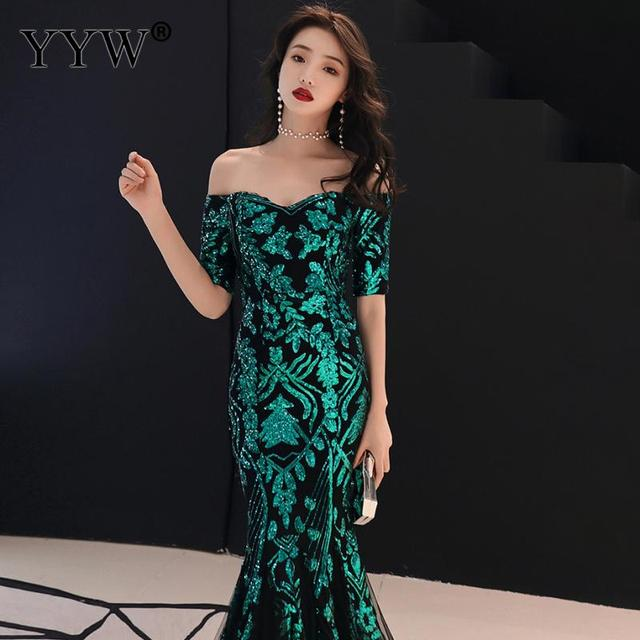 Green Leaf Sequined Off Shoulder Evening Dresses Luxury Sexy Robe De Soiree Long Mermaid Party Dress Elegant Cocktail Clubwear 6