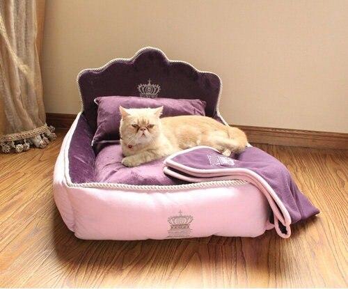Cama de princesa de lujo para mascotas con almohada manta cama de perro Cama de Gato sofá perro casa nido cojín para dormir mascota envío Gratis-in Casas, jaulas y corrales from Hogar y Mascotas    2