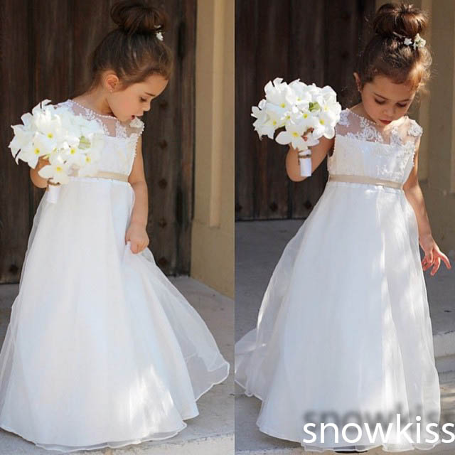 Little girl elegant white/ivory long sleeveless lace appliques A-line flower girl dresses nice beaded wedding birthday gowns new white ivory nice spaghetti straps sequined knee length a line flower girl dress beautiful square collar birthday party gowns