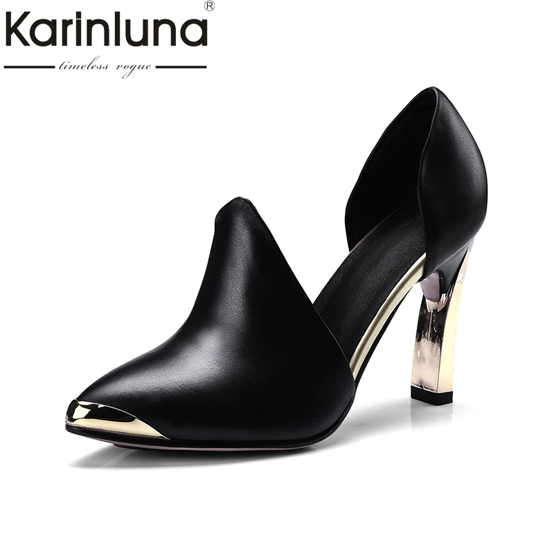 KarinLuna 2018 fashion genuine leather large size 33 41 slip on chunky high Heels women shoes woman Office Party Pump