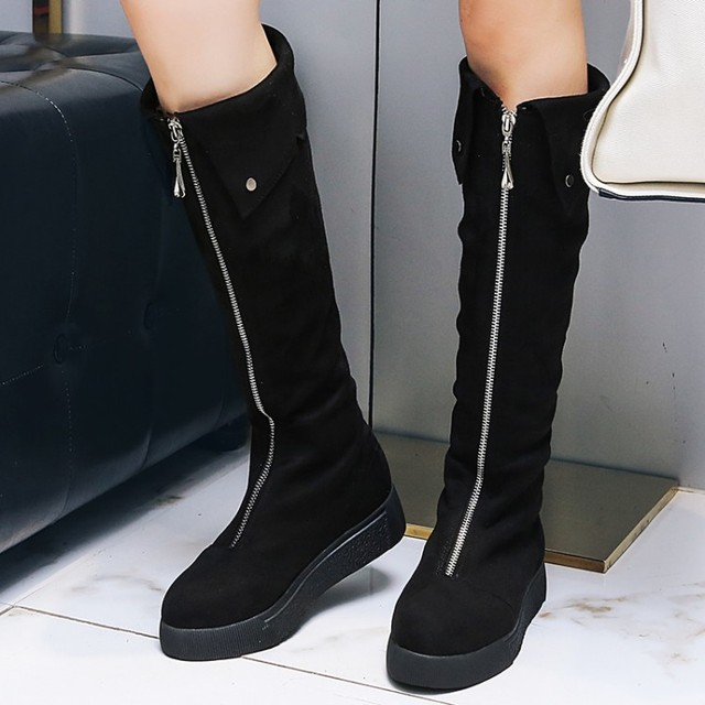35e51b16c PXELENA Retro Punk Rock Riding Boots Women Shoes Front Zip Flat Platform  Knee High Boots 2018 Slim Colleigate Boots Black Gray