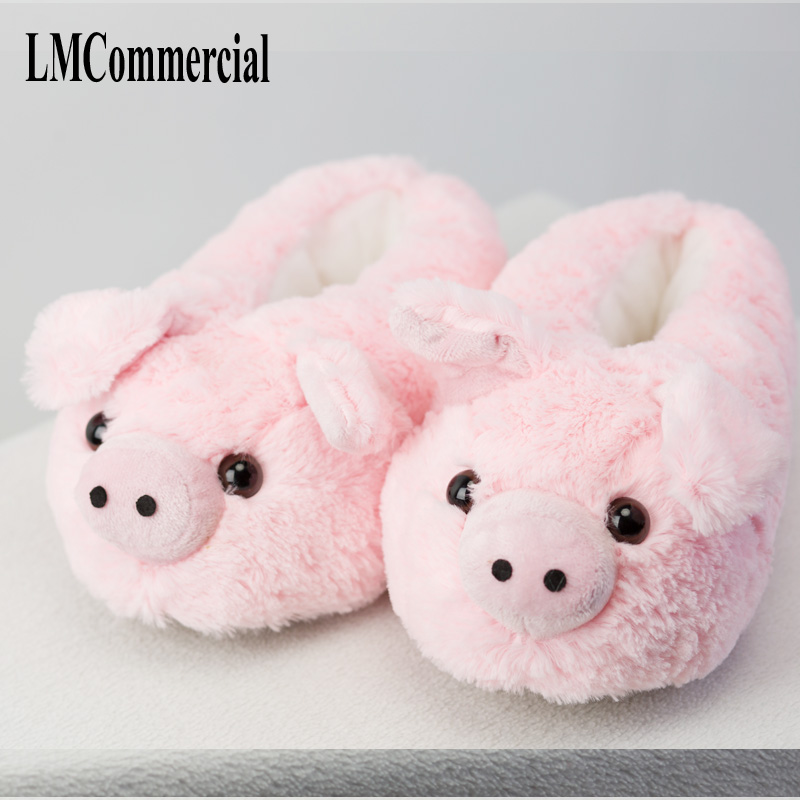 Indoor Slippers Special dog offer custom a warm winter Pink pig home slippers thick hard bottom shoes on floor lovers shoes in Slippers from Shoes
