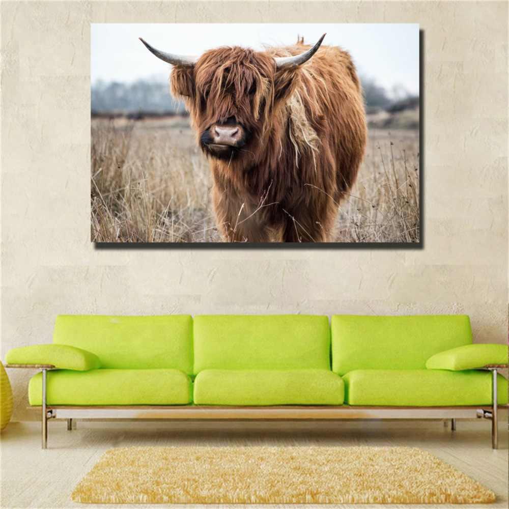 היילנד פרה קיר אמנות הדפסי בד ריאליסטי בעלי חיים בד ציורי קיר פוסטרים Cuadros תמונות לסלון דקור