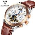 Cadisen de primeras Marcas de Lujo de Los Hombres Tourbillon Calendario sport Mecánico Automático Relojes militar reloj de Pulsera relogio masculino