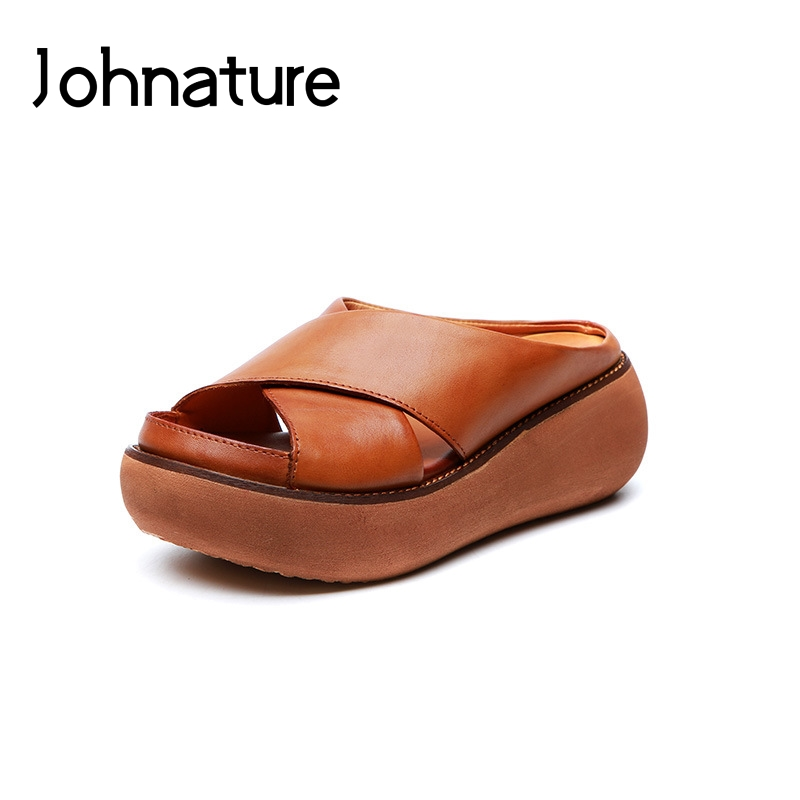 Johnature Solid Genuine Leather Summer New Platform Slippers Outside Sewing Flat With Sandals Casual Slides Women