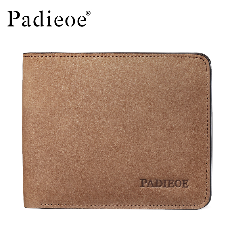 Padieoe Vintage Men's Short Wallet High Quality Genuine Leather Men Wallets Business Male Card Holder Famous Brand Man Purses hot sale leather men s wallets famous brand casual short purses male small wallets cash card holder high quality money bags 2017