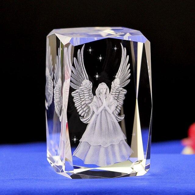 K9 3D Escultura Interna Inter-gravura Do Laser de Cristal Anjo Da Guarda Mini Presente Criativo Prateleira de Mesa de Escritório Em Casa Decoração Artesanato