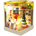 Merry Christmas Wooden Doll House with Furniture,Hot Handmade DIY Dollhouse Miniature Toys for Kid's Christmas/Birthday Gift