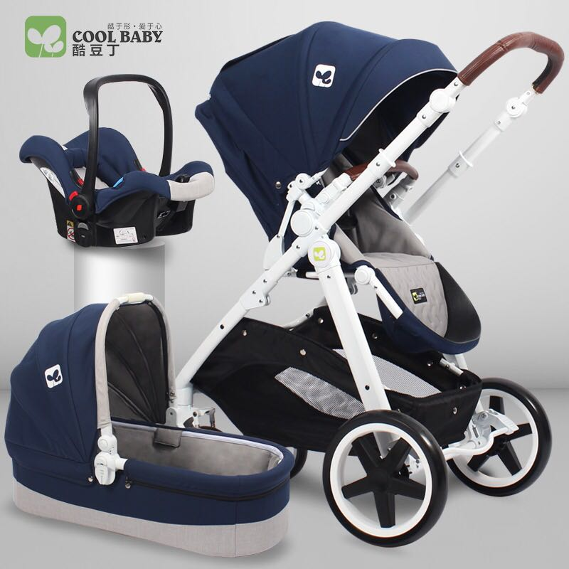 Cool baby four wheel baby trolley European two-way suspension high landscape trolley 3 in 1 цена