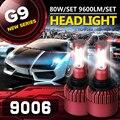 Auxbeam CREE Chips SMD 9006 Lâmpadas Dos Faróis Do Carro + Ventilador de Refrigeração 6500 K 80 W/pair HB4 Led Fog Lâmpadas para Carro SUV Feixe Único Bulbo Kits