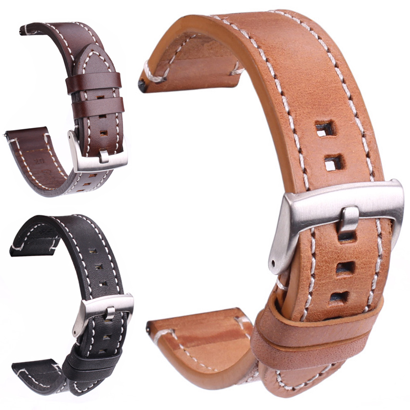 Genuine Leather Watchbands Strap 18mm 20mm 22mm 24mm Black Dark Brown Women Men Belt With Silver Stainless Steel Buckle vik max adult kids dark blue leather figure skate shoes with aluminium alloy frame and stainless steel ice blade