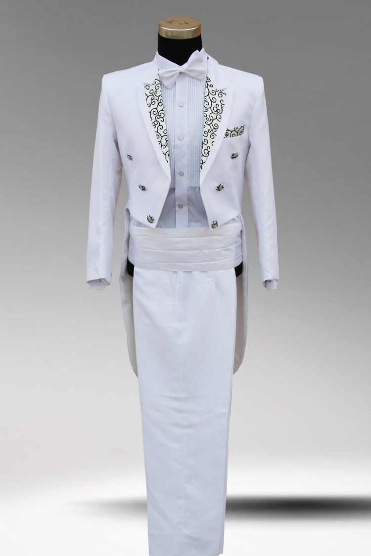 白 blac kmen 結婚式タキシードドレス新郎スーツ男性のフォーマルなドレス衣装男性フォーマルなドレススーツパーティー歌手のバーフォーマル