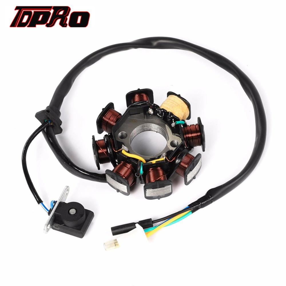 TDPRO 5 Wire 8 Coils DC Magneto Stator For Honda GY6 4 Stroke 50cc 90cc 125cc 150cc ATV Moped Go Kart Scooter Quad Pit Dirt Bike in Motorbike Ingition from Automobiles Motorcycles