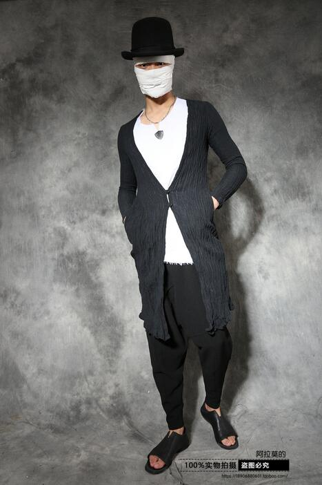 Us 74 8 15 Off Autumn Vintage Chinese Style T Shirt Men Ramie Long Gown Personality Casual Plate Buttons Long Design Cardigan Tshirt Men Black In