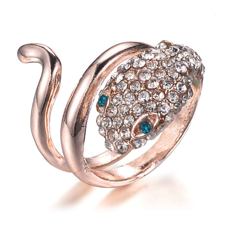 Fashion Christmas Gift Classic Genuine Austrian Crystals Sample Sales Rose Gold-Color Snake Ring Jewelry