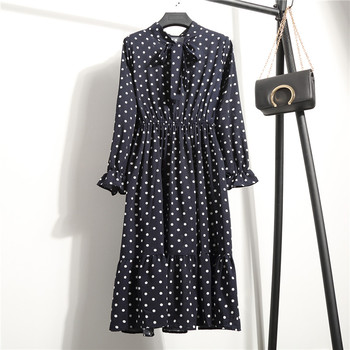 Summer Autumn Chiffon Print Dress Casual Cute Women floral Long Bowknot Dresses 1
