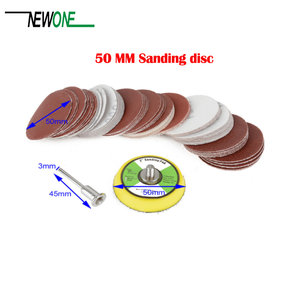 60 Pcs 2'' 50mm Sandpaper Disc 100/240/600/800/1000/2000 Grits + 50mm Loop Sanding Pad With 45x3mm Shank Mayitr