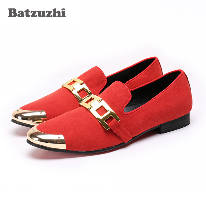 Batzuzhi Brand 2018 New Men Shoes Handmade Red Suede Leather Shoes Party and Red Wedding Men Dress Shoes Loafers Flats, Big Size choudory dragon embroidery handmade men leather shoes men loafers wedding and party shoes metal tip men flats size 38 46 us12