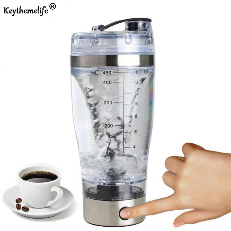 Protein Powder Shakes Bottle Auto Coffee Mixing bottles Mixer Leakproof Shaker water Bottles Stainless Steel for Bar Kitchen image
