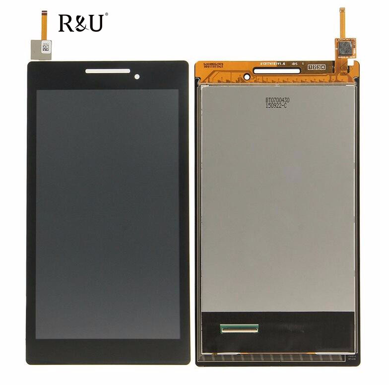 R&U Full LCD Display Touch Panel Screen Digitizer Glass Assembly Replacement For Lenovo TAB 2 A7-20 A7-10 Free Shipping