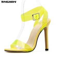 TINGHON Women Fashion PVC Ankle Strap Transparent Thick Heel Sandals Ladies Summer Candy Color High Dress Shoes