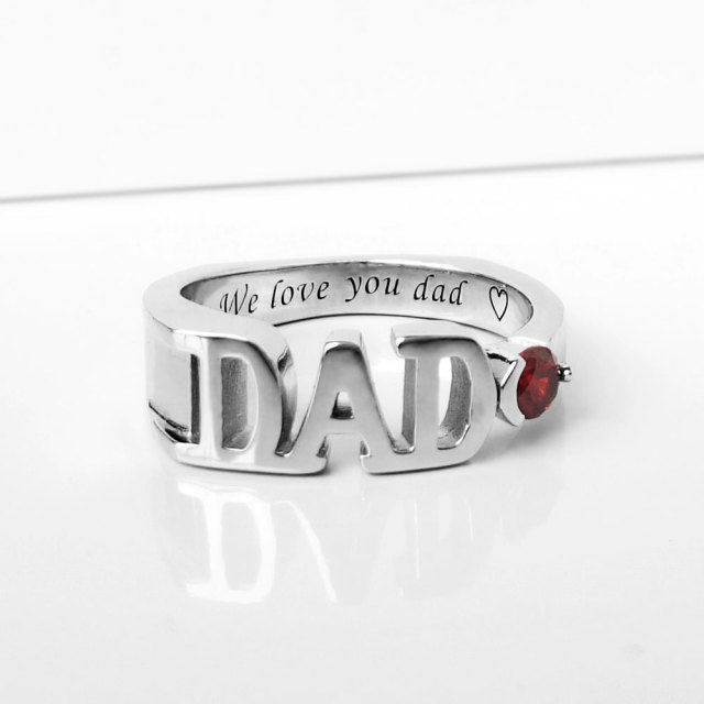 AI JA JA Personalized 925 Sterling Silver Men Dad Rings with Birthstones Engraved Letters Handmade Father's Rings Unique Gift