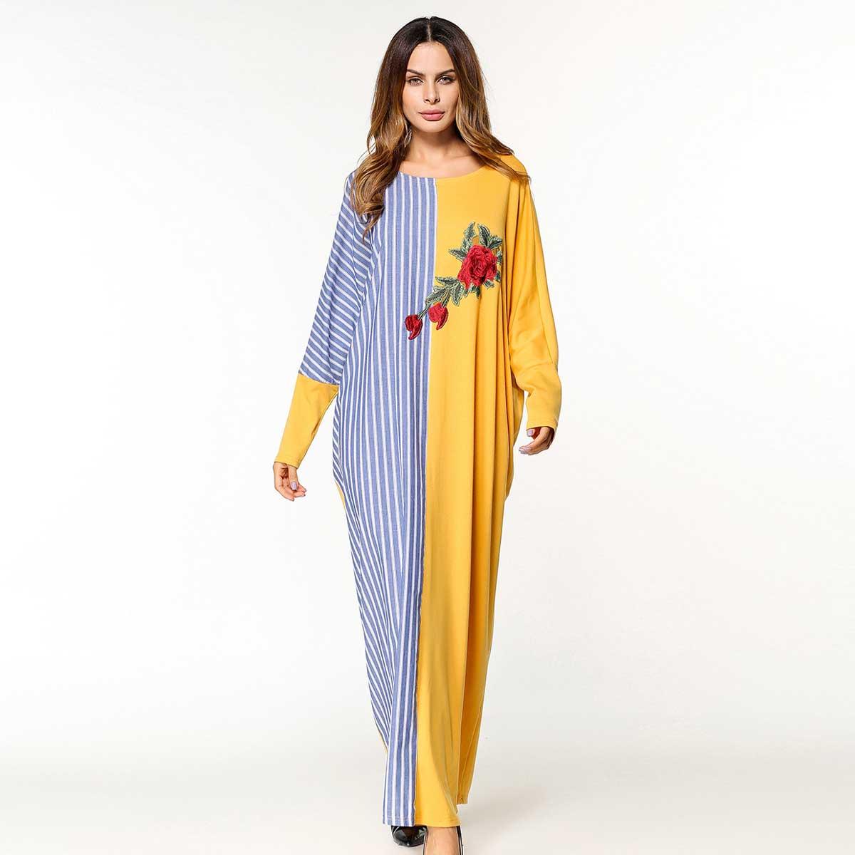 2019 Striped Floral Embroidery Patchwork Muslim Abaya Long Sleeve Women Dress  Dubai Islamic Arab Moroccan Kaftan Robe VKDR1468 44c8a950ad16