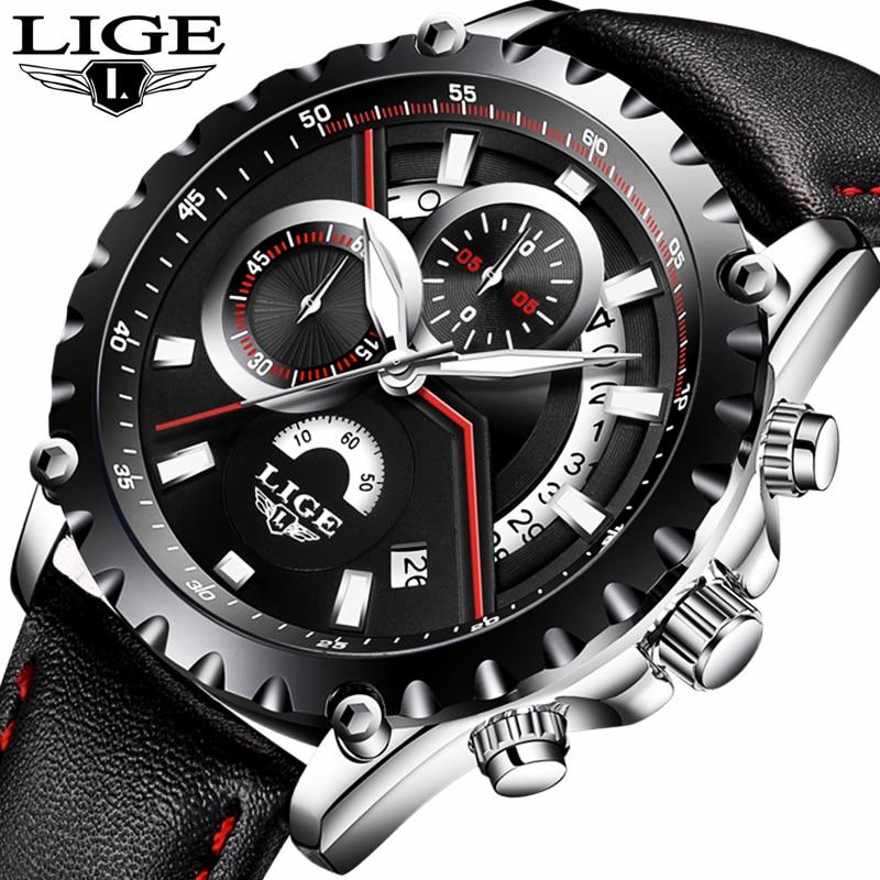 New LIGE luxury brand watch men fashion casual sport quartz wristwatch leather waterproof men;s watches clock Relogios Masculino