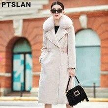 Ptslan 2017 Sheep fur coat women in the long section  Fox Fur Collar Sheep Fur Coats Fashion Belt