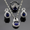 Made in China Blue Created Sapphire White CZ Jewelry Sets Women Silver Color Necklace/Pendant/Earrings/Rings Free Box