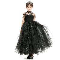 elegant Black Spark Shining Baby Girls Tutu Dress for Party Black Princess Kids Girls Dresses Christmas Halloween Costumes