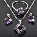 Unique Purple Cubic Zirconia 925 Sterling Silver Jewelry Sets For Women Earrings/Pendant/Necklace/Rings Free Shipping  JS0105