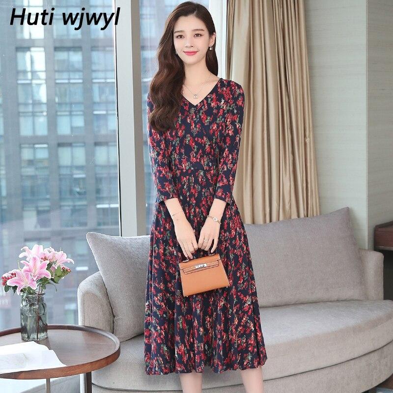 Autumn Winter New 3XL Plus Size Vintage Midi Dresses 2018 Women Elegant Bodycon Floral Dress Party Long Sleeve Runway Vestidos 2