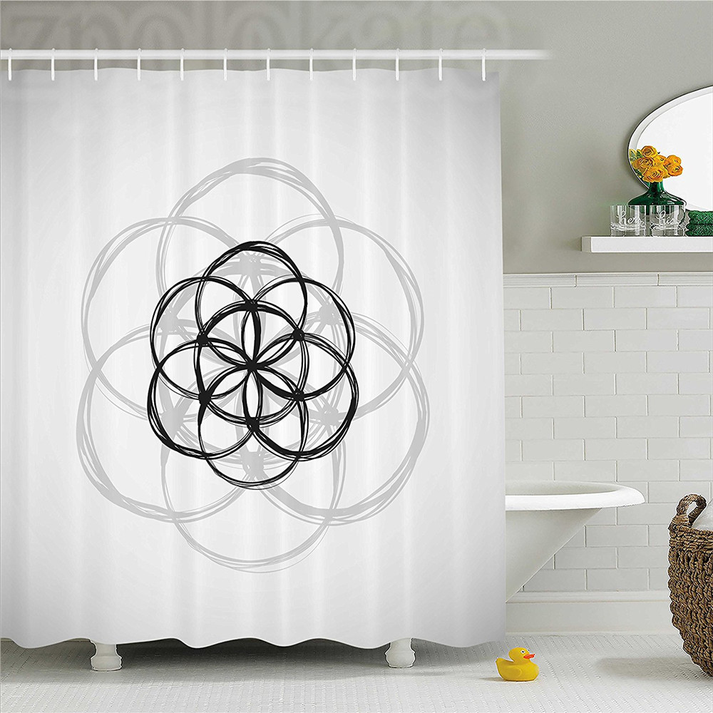 Sacred Geometrty Decor Shower Curtain Sketch Image of Curving Intersecting Spirals Archaic Mystic Global Print Bathroom Decor Se