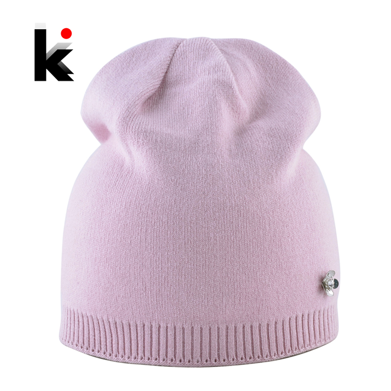 Solid Color Knitted Hat With Metal Flower Accessories Women Autumn Winter Knit   Skullies     Beanies   Ladies Soft Warm Lining Caps