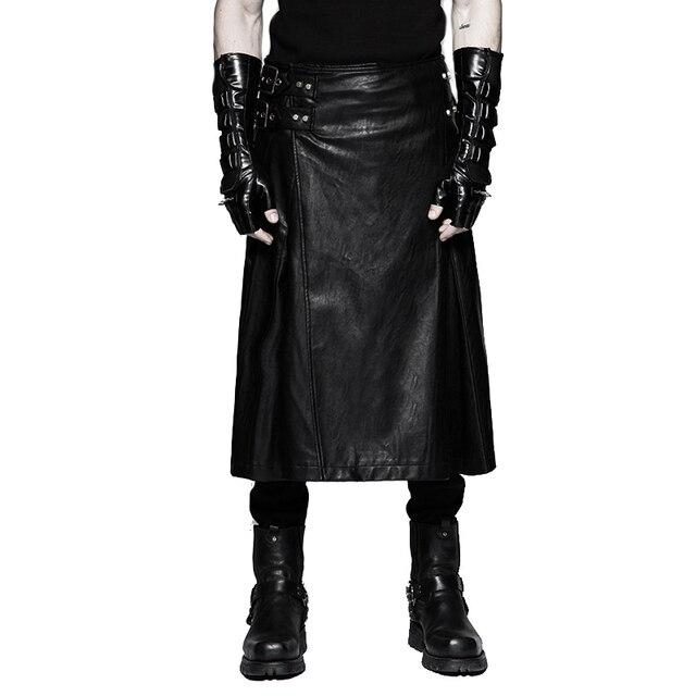 2583694bc600b2 Luxe Merk Punk mannen Lederen Rok Broek Faux Leather Black Gothic Rokken  Jurken Grote Maten Broek
