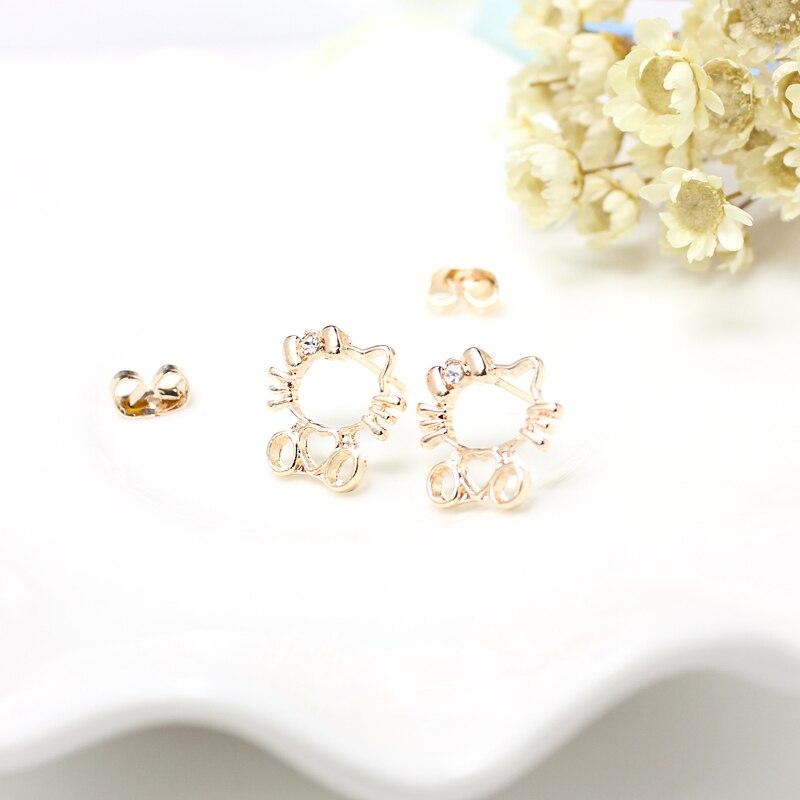 2018 Famous Brand Hello Kitty Earrings Children Girl Rose Gold and ...