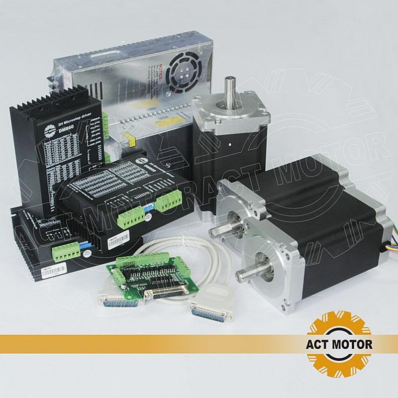 ACT Motor 3Axis CNC Nema34 Stepper Motor 34HS9456 Single Shaft 4Lead 1090oz 99mm 5 6A 3PCS