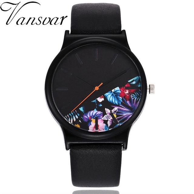 Vansvar Brand Women Floral & Palm Leaves Pattern Watch Luxury Casual Leather Ladies Dress Quartz Wristwatches Relogio Feminino