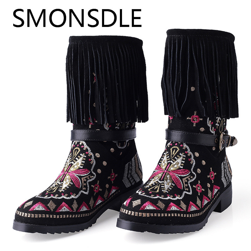 SMONSDLE New Style Women Autumn Winter Boots Round Toe Black Embroider Fringe Slip On Women Mid Calf Boots Shoes Woman smonsdle black stretch knitting slip on women mid calf boots sexy pointed toe thin heel women spring autumn boots shoes woman