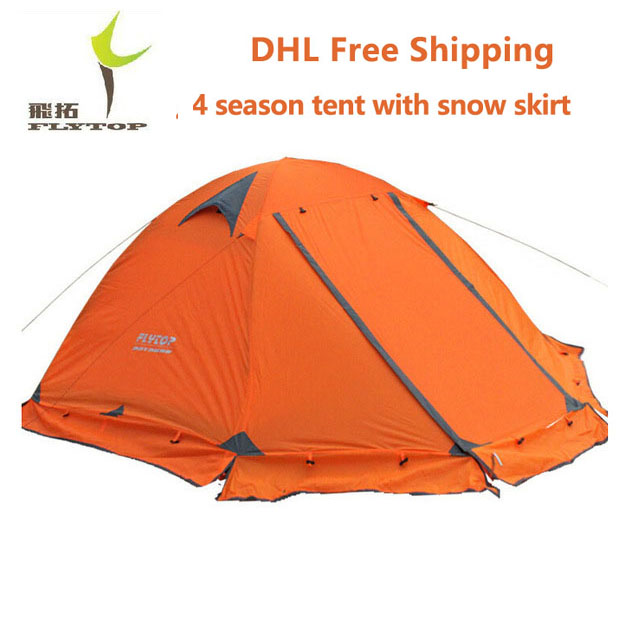 DHL free shipping FLYTOP Winter tent 2 persons Tourist double layer windproof waterproof professional camping tent tienda FT001 high quality outdoor 2 person camping tent double layer aluminum rod ultralight tent with snow skirt oneroad windsnow 2 plus