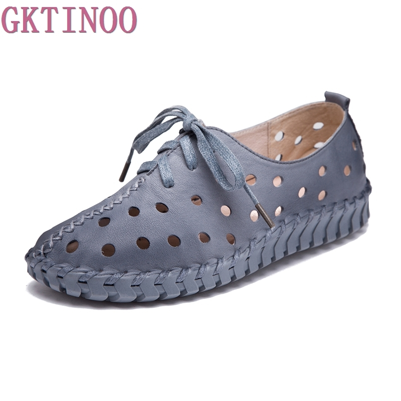 New Spring Summer Genuine Leather Shoes Women Flats Lace Up Women Moccasins Loafers Casual Handmade Woman