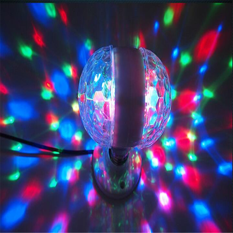 2017 On Sale 3W Mini Double Head RGB LED Crystal Magic Ball Stage Lighting Effect Lamp Bulb Party Disco Club DJ Light Show led crystal stage light for disco party club bar dj ball bulb multi changing color rose lantern